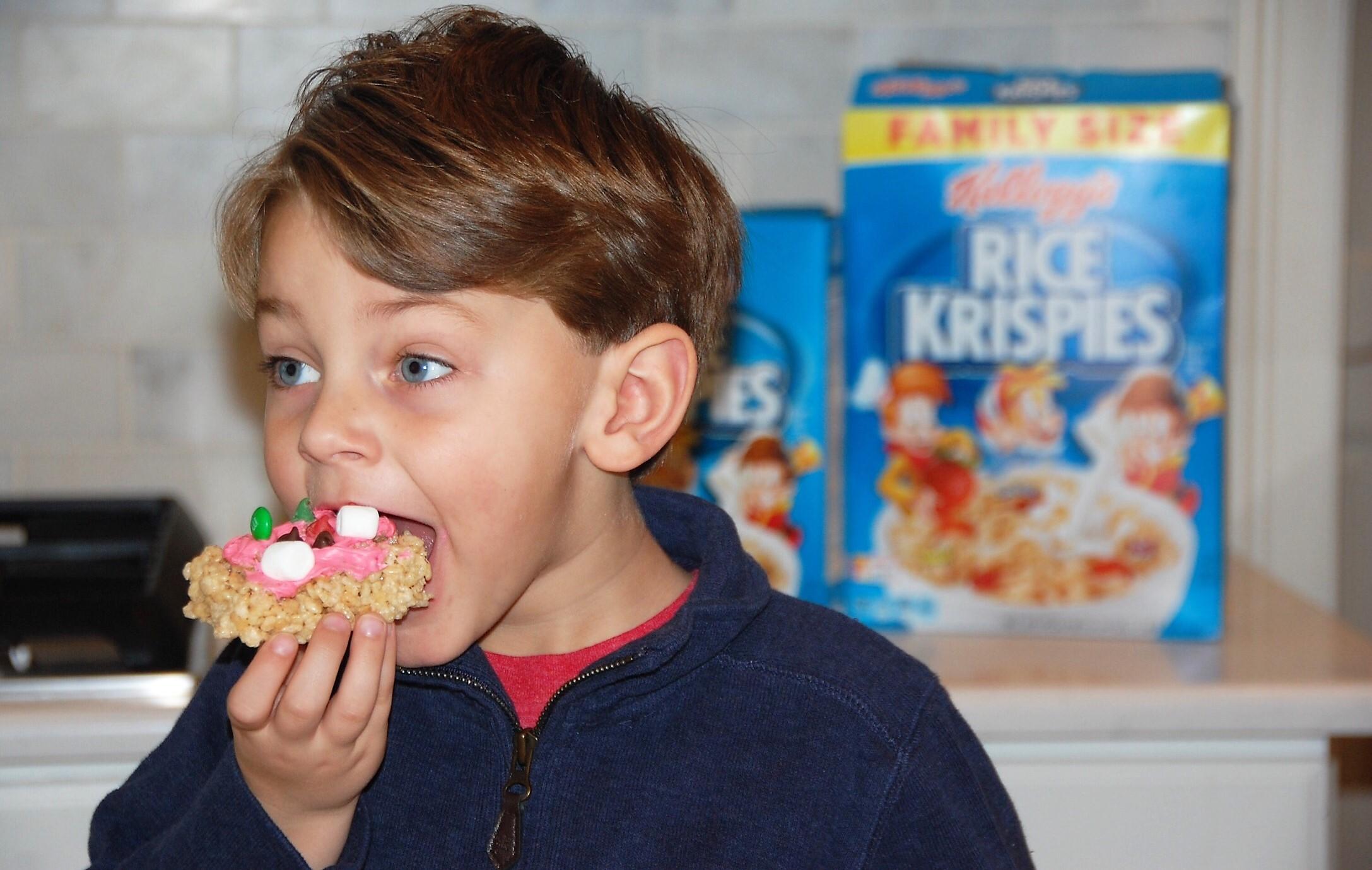 Knox Bishop eating Rice Krispies Treats