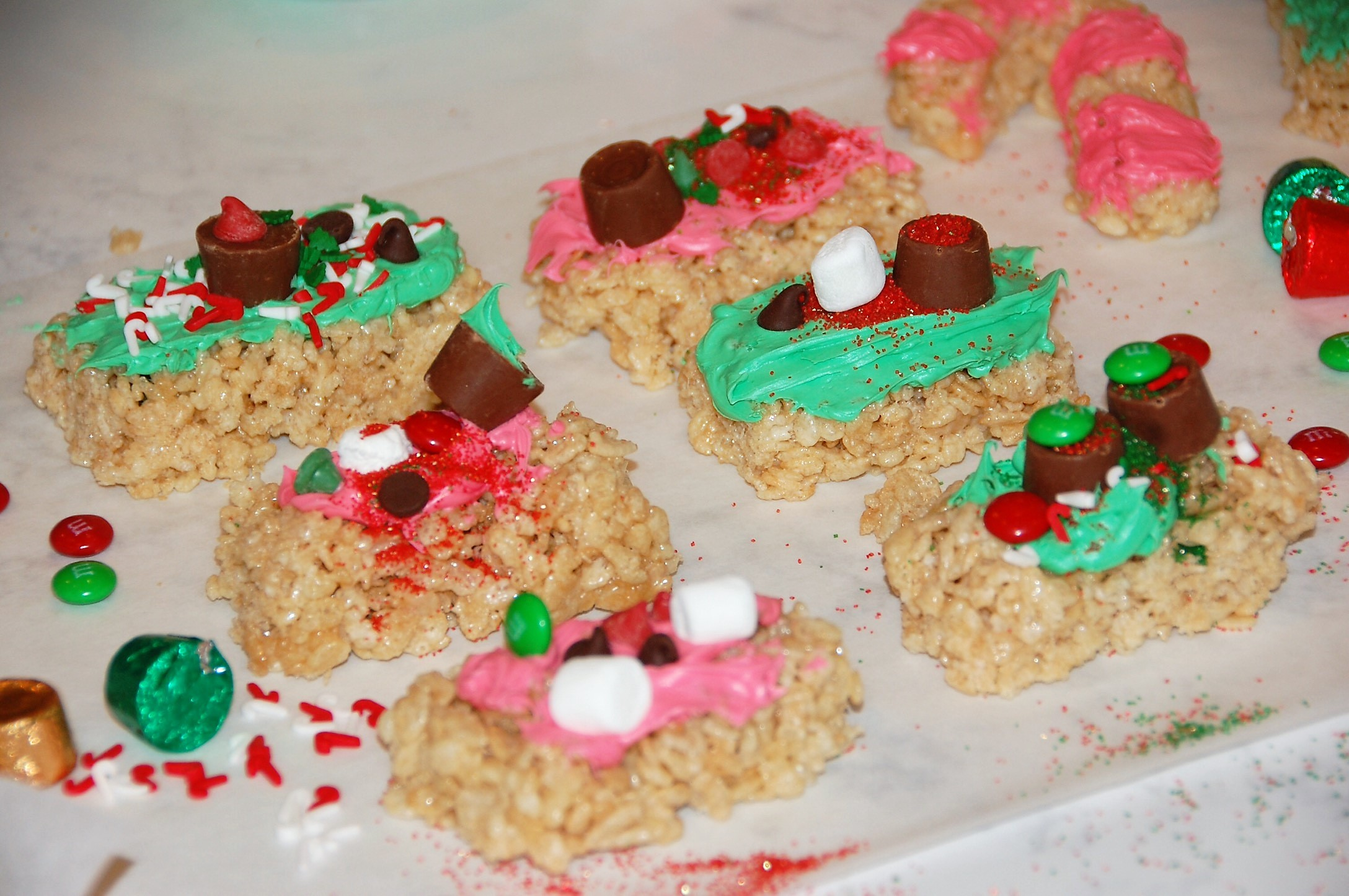Decorated rice krispies treats for holiday gifts