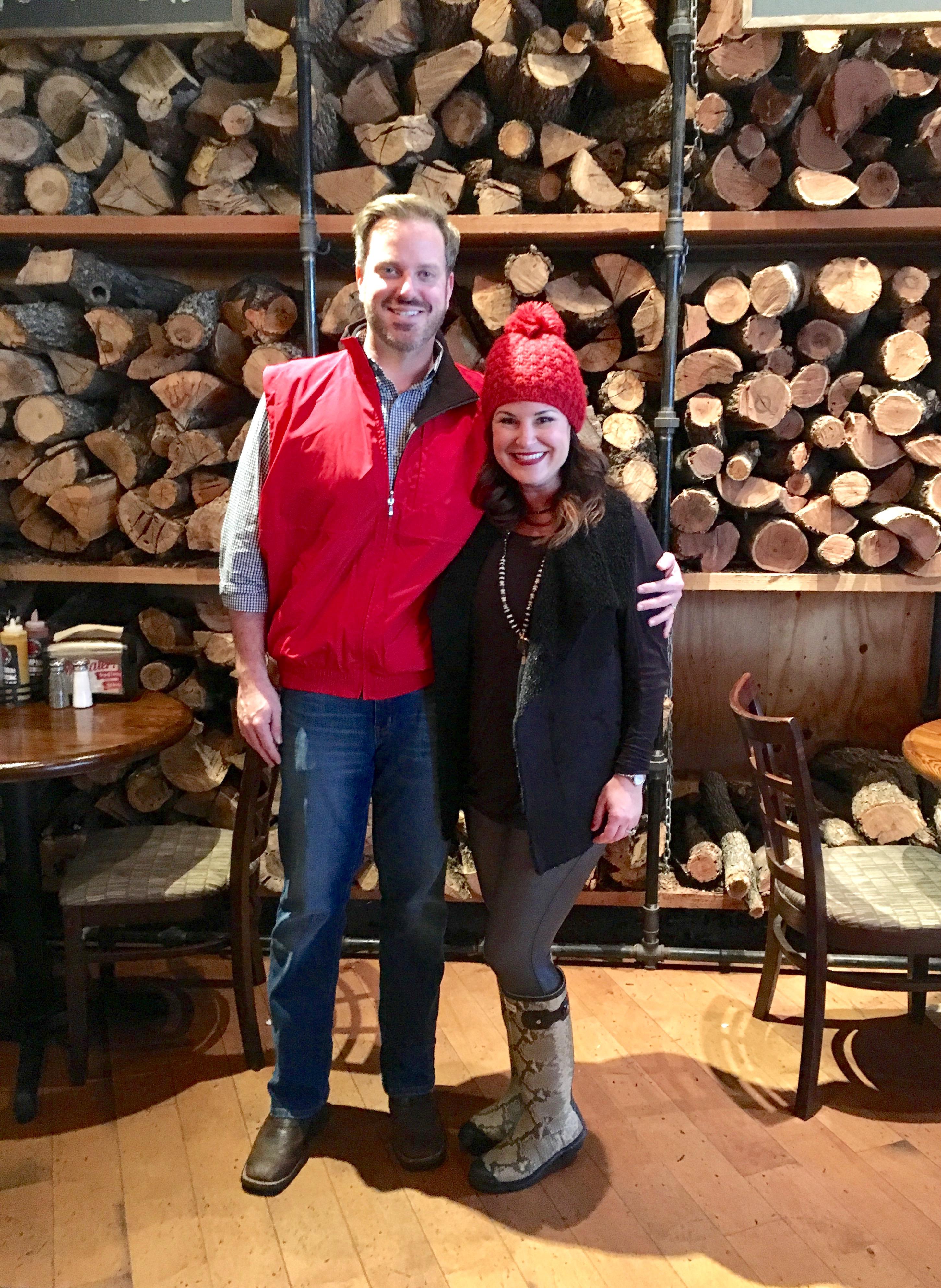 Kim and Fred Bishop at Twin Smokers BBQ in Atlanta Georgia before the Atlanta Falcons playoff game