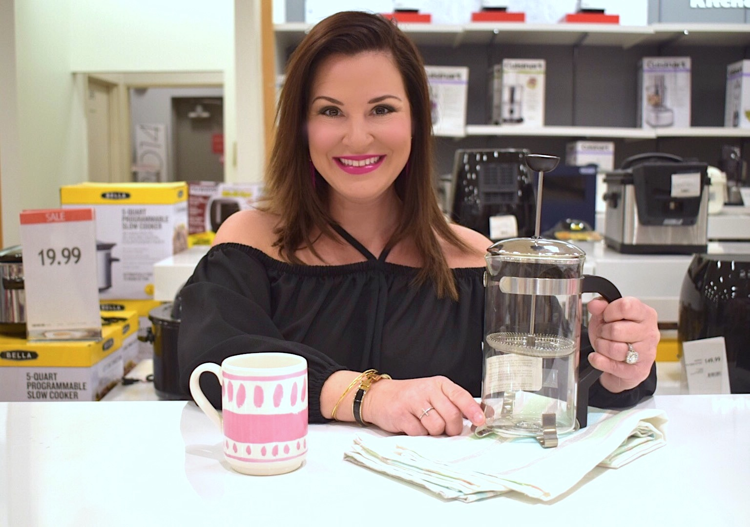 Kim Bishopwith a Bodum Chambord French Press Coffee Maker with a pink coffee mug at Macy's