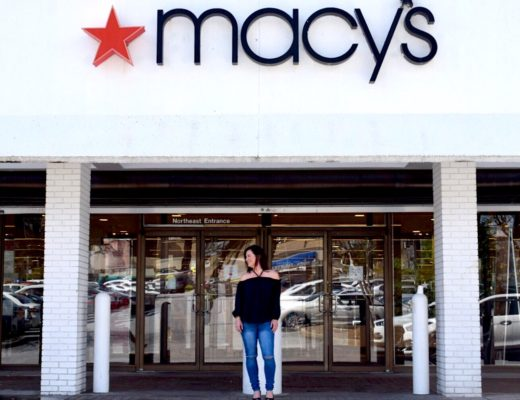 Kim Bishop in front of Lenox Mall Macy's storefront