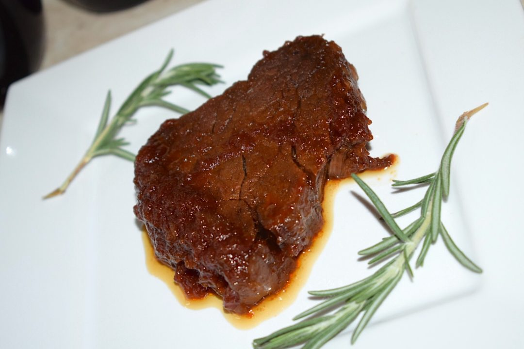 Crockpot Steak featuring Peter Luger Steak House Sauce